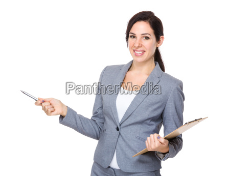 businesswoman hold with clipboard and pen