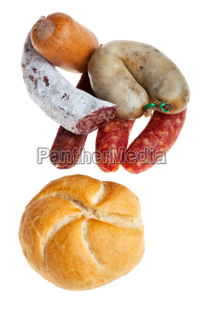 sausage and bread on white