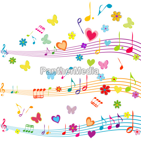 colorful music design with stave butterflies