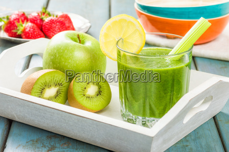 green smoothie with fresh fruit