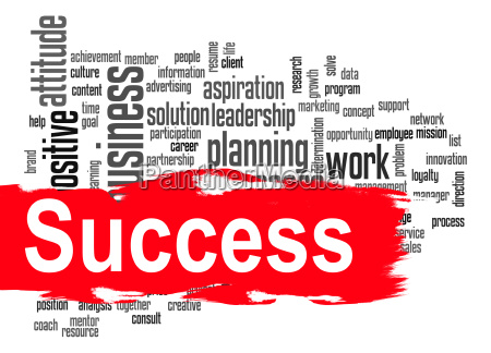 success word cloud with red banner