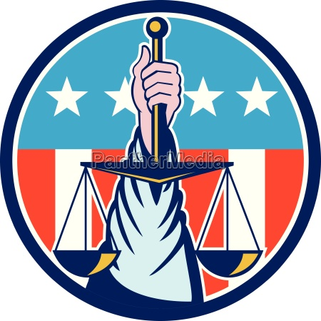 hand holding scales of justice circle
