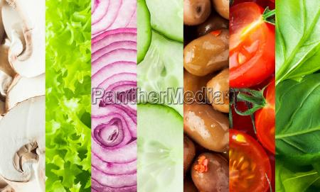 fresh vegetables collage background