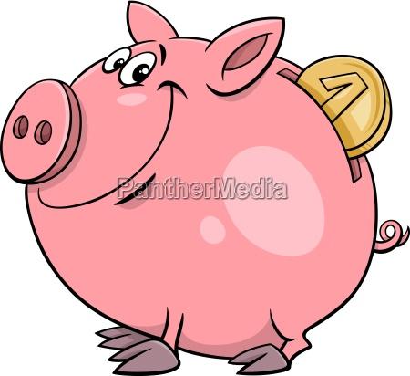 piggy bank with coin cartoon