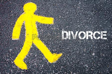 yellow pedestrian figure walking towards divorce