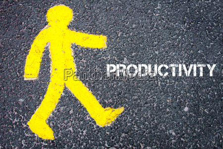yellow pedestrian figure walking towards productivity