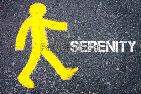 yellow pedestrian figure walking towards serenity