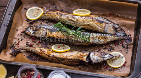 baked fish on a roaster pan