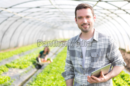 portrait of an attractive farmer in