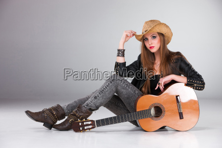 the beautiful girl in a cowboys