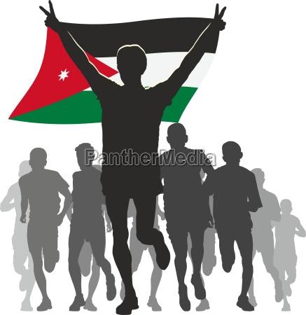 athlete with the jordan emirates flag