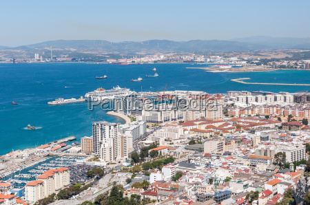 aerial view over city of gibraltar