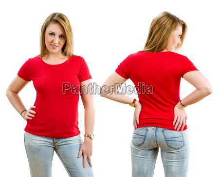 happy blond woman wearing blank red
