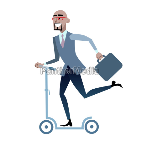 african businessman on a scooter healthy