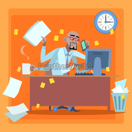 african businessman loaded with work time