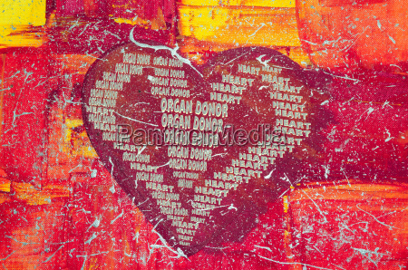 heart with inscription organ donor