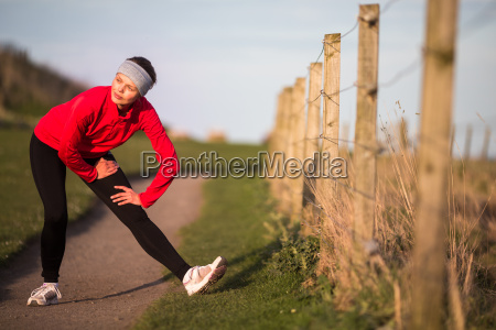 young woman on her evening jog