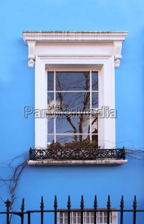 blue facade window