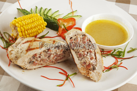 a delicious stuffed chicken kiev served