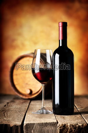 wine on wooden table