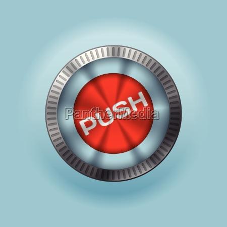 shiny metallic button with push