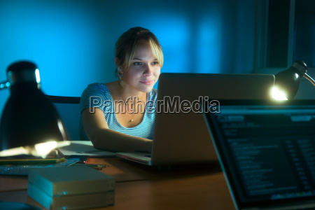 woman writing on social network with
