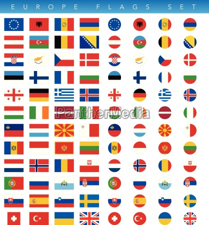europe flags set