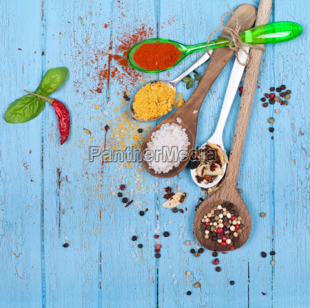 spoon with spices and herbs