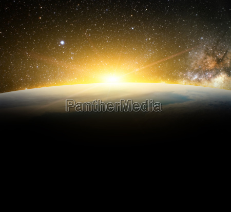 earth and sunlight in galaxy space