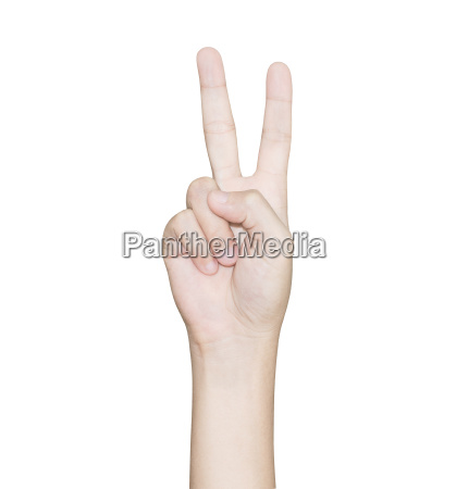 closeup hand gesture victory isolated white