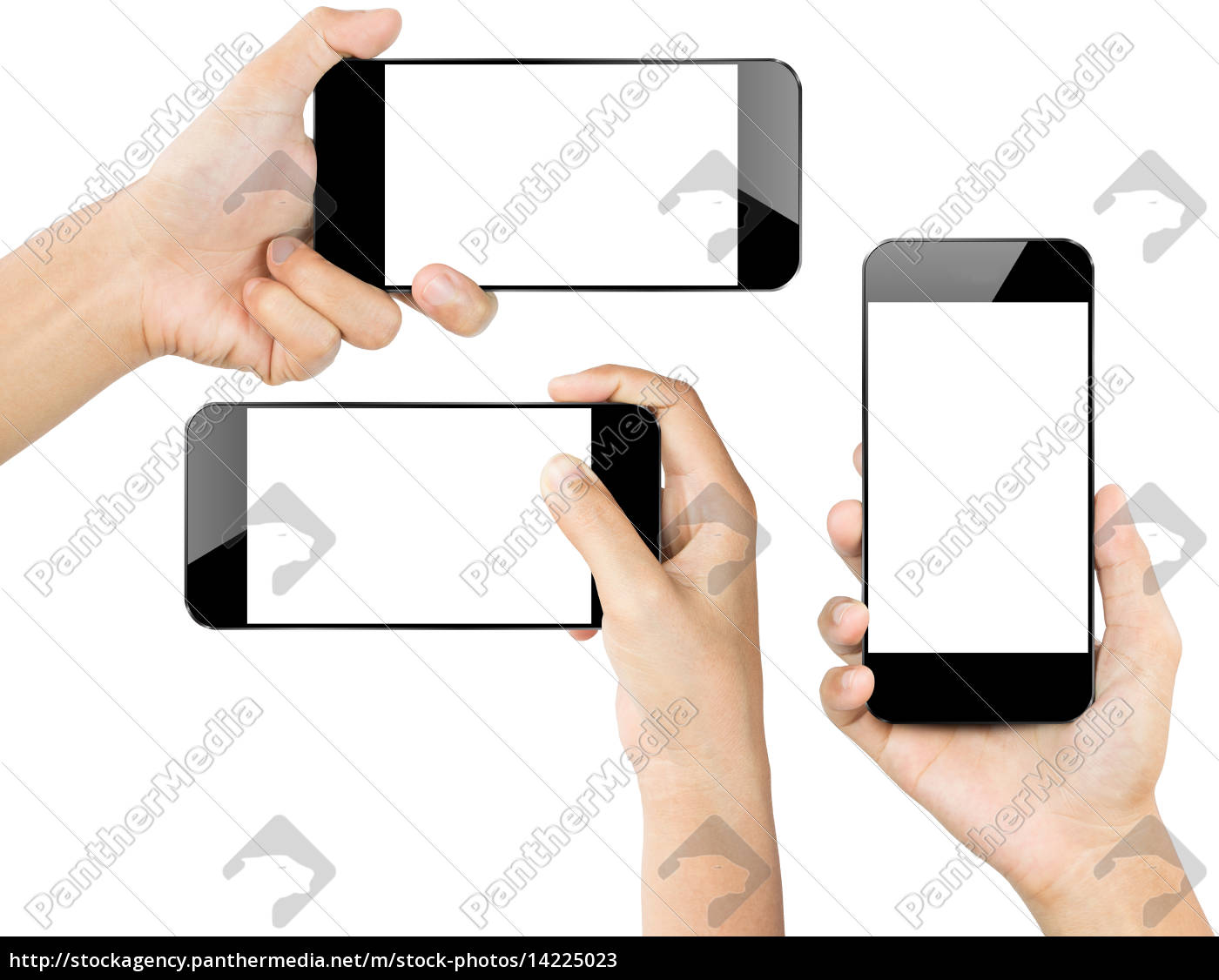 closeup, hand, hold, smartphone, white, isolated - 14225023