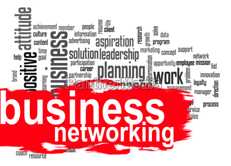 business networking word cloud with red