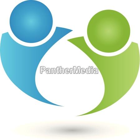 two people logo people couple
