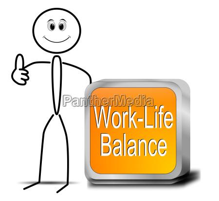 stickman with work life balance button