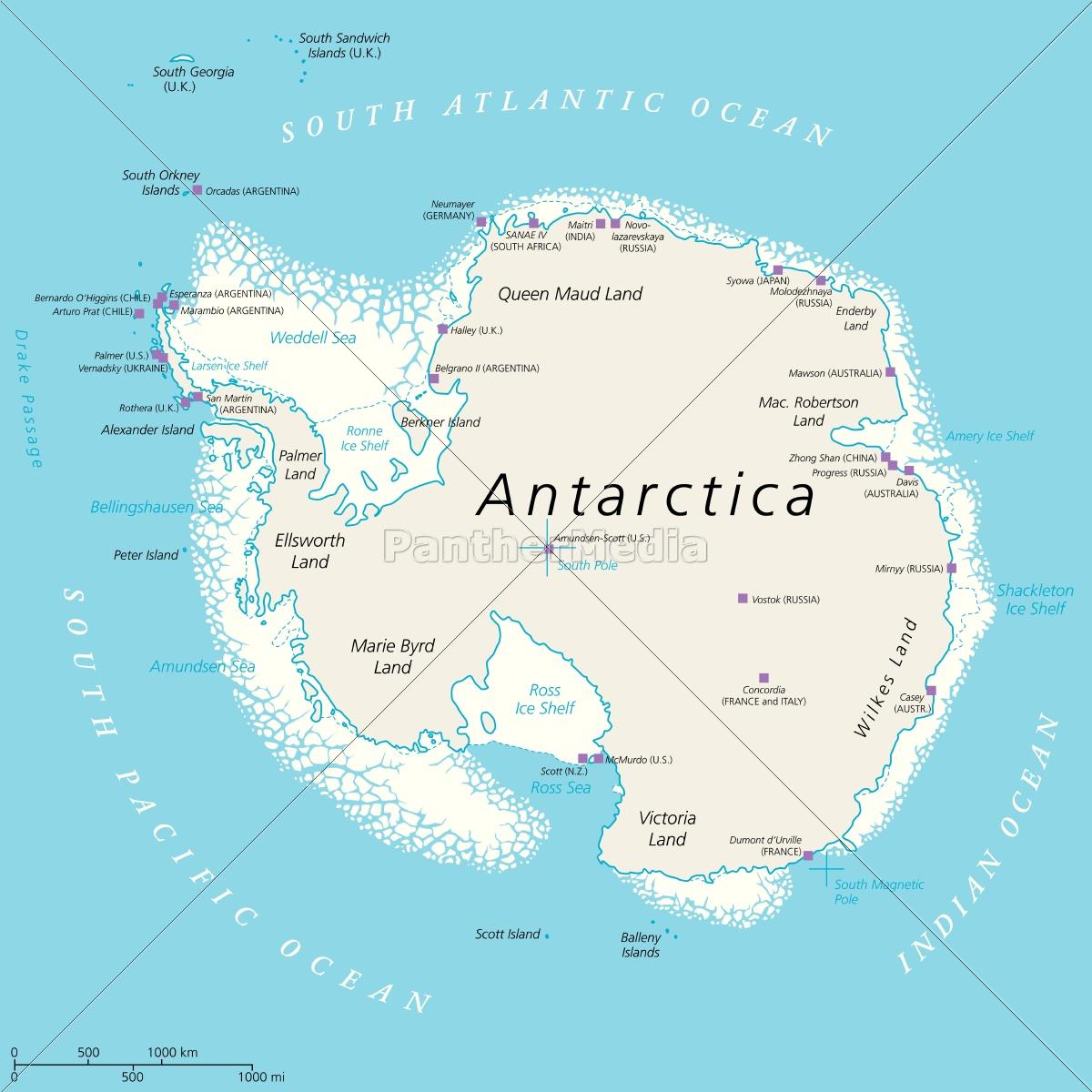 Antarctica Political Map Royalty Free Image 14231097