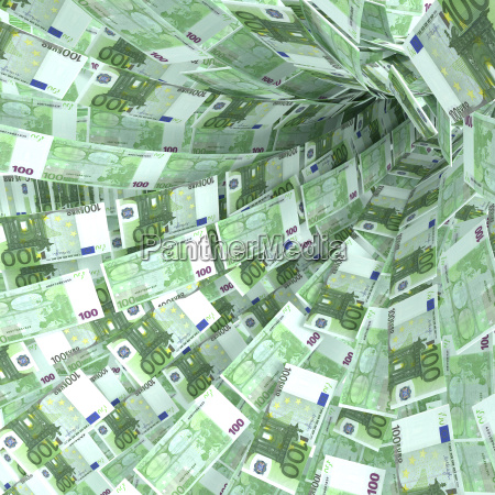 money vortex of 100 euro notes