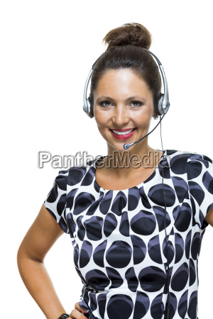 young businesswoman with headset operator telephone
