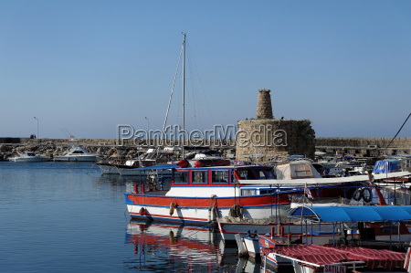 harbor of girne in northern cyprus
