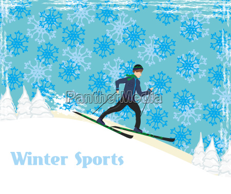 boy rides on skis in winter