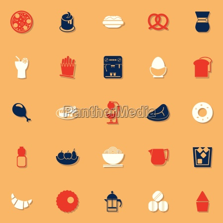 easy meal classic color icons with