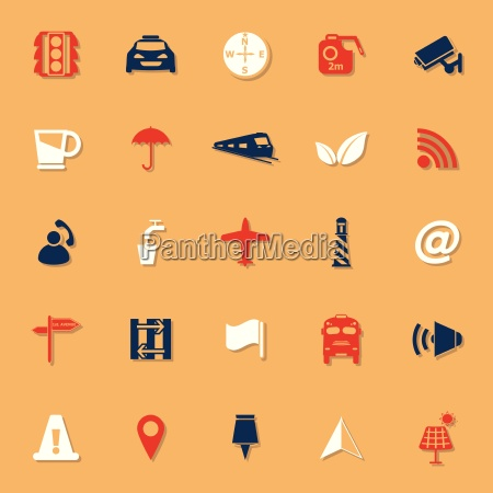 map sign classic color icons with