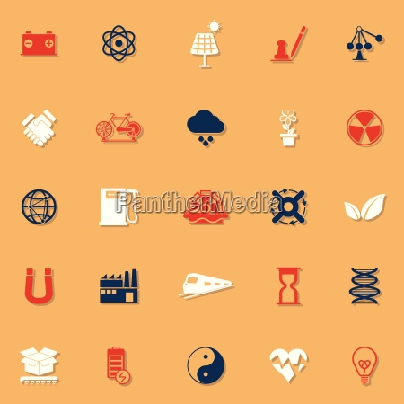 renewable energy classic color icons with