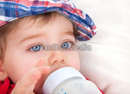 cute little boy eating