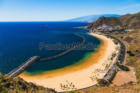 aerial view to las teresitas beach