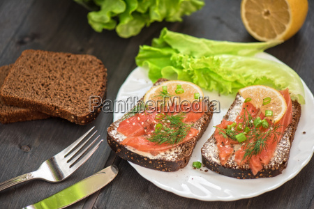 sandwich with salmon for breakfast