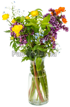 summer wild flowers in glass vase