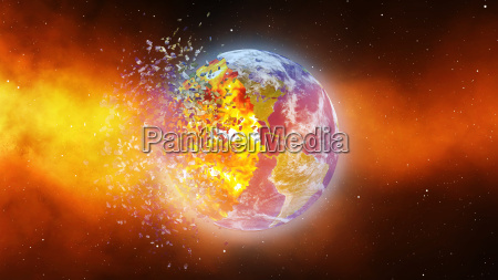 earth burning or exploding after a