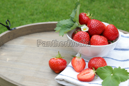 strawberries on a tray