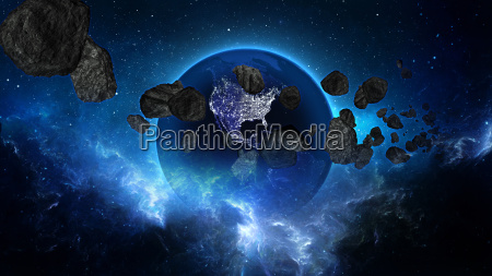 planet earth with asteroid in universe