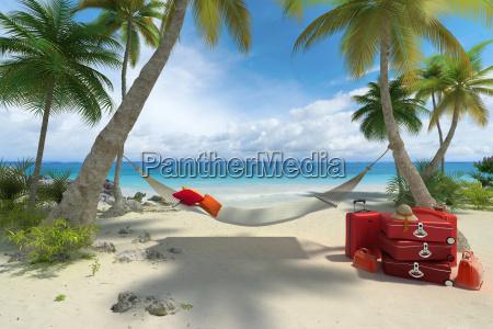 beach hammock and luggage